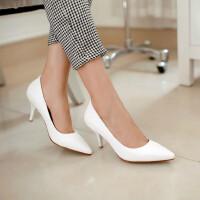女鞋韩版高跟鞋尖头鞋细跟OL工作鞋性感单鞋职业浅口鞋