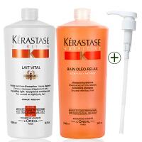 Kerastase/卡诗 奥丽顺柔洗发水1L+蛋白护发素1L洗护套 进口专业洗护发 干燥纷乱的头发平顺