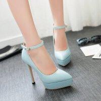 女超高跟鞋细跟鞋防水台尖头鞋浅口鞋搭扣女鞋时尚百搭性感单鞋