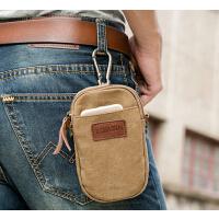 韩版男士穿皮带腰包    5.5寸手机包 小挎包   单肩斜跨包   时尚新款多功能帆布包