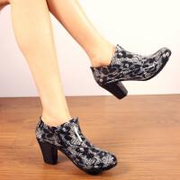 【支持礼品卡支付】女士雨鞋雨靴高跟雨鞋拉链水鞋时尚胶鞋雨靴短筒套鞋单鞋浅口鞋