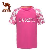 骆驼童装 夏季儿童T恤中大童圆领短袖男童女童印花T恤