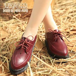 东帝名坊新款英伦厚底松糕鞋尖头系带橡胶底女单鞋