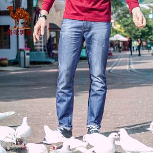 骆驼男装 春季新品无弹中腰修身小脚长裤 时尚商务休闲牛仔裤