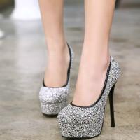 女鞋单鞋成人礼超高跟性感夜店细跟亮片婚鞋伴娘鞋