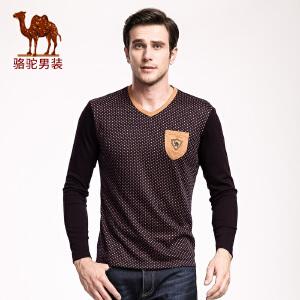 骆驼男装 冬款新品微弹V领格子长袖T恤 商务休闲绣标T恤 男
