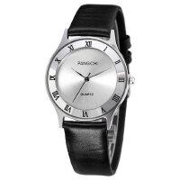 石英男表真皮带手表休闲商务男士手表 时尚女表情侣手表