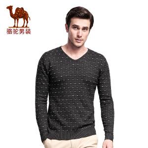 骆驼男装 秋冬季新款青年套头直筒V领长袖针织衫 纯色纹理毛衣男