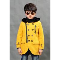 韩版时尚休闲百搭男童童装呢子大衣呢外套上衣新款