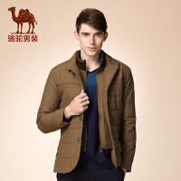 骆驼男装 冬装新款青年中长款双层领拉链单排扣纯色外套棉服