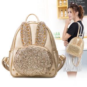 Miffy米菲 时尚卡通兔子女包铆钉双肩包潮女包2016新款包包韩版休闲迷你背包包