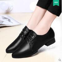 新款女鞋子单鞋女中跟粗跟尖头女士小皮鞋英伦风深口3211