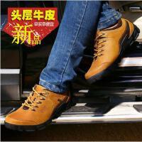 古奇天伦男鞋 男士休闲皮鞋板鞋英伦真皮大头鞋单鞋系带鞋子 5621