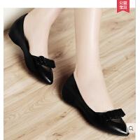 古奇天伦新品尖头浅口单鞋妈妈鞋驾车孕妇时尚平底坡跟单鞋 8154