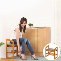 家逸 单人换鞋凳实木储物凳 可升降试鞋凳鞋架收纳凳穿鞋凳 家用卧室客厅鞋架老人坐凳带扶手