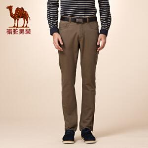 骆驼男装 冬款新品无弹中腰纯色直筒休闲裤 商务休闲长裤 男