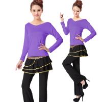 广场舞服装上衣 女士长袖新款舞蹈服练功服舞衣跳舞 拉丁舞成人女