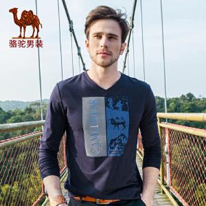 骆驼男装 春季新款微弹日常休闲印花V领长袖棉质T恤男士