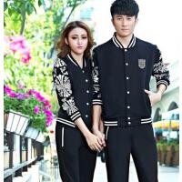 情侣装加大码韩版卫衣女跑步套装  休闲男士开衫运动服套装