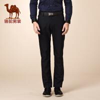 骆驼男装 冬装新款青年微弹中腰直筒纯色舒适商务休闲裤男士