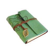 秦盛轩 复古6孔活页本记事本/涂鸦日记本子 创意叶子绑带笔记