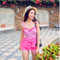 时尚性感女士泳衣女小胸聚拢新款分体平角显瘦遮肚保守韩国可爱泳装