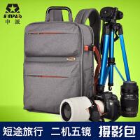 申派双肩摄影包多功能电脑包旅行包 单反包佳能700D 5D 7D相机包 新款专业单反相机包 二机五镜摄影双肩包防水旅行相机包