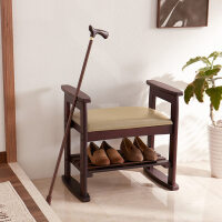 家逸 实木换鞋凳 可升降鞋架鞋凳 储物凳穿鞋凳田园简易收纳凳子鞋架老人儿童带扶手凳子