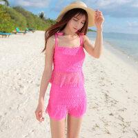 韩版新款时尚休闲沙滩游泳衣女式分体二件套比基尼泳衣钢托聚拢小胸大胸