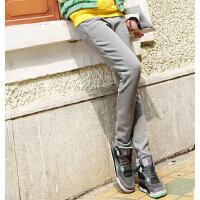 韩版女加绒加厚长裤   时尚直筒显瘦卫裤收口女裤   大码运动裤  宽松休闲裤