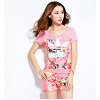 潮流运动服 新款时 尚韩版休闲套装印花运动服圆领女装 短袖长裤
