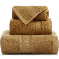 [当当自营]三利 长绒棉加厚缎档方巾/毛巾/浴巾三件套礼盒装 咖色