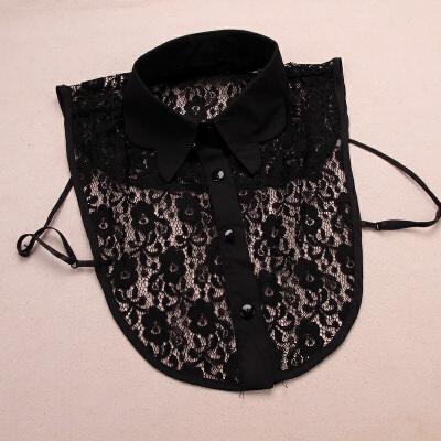 波浪领衬衫假领子 蕾丝女士韩国百搭假衣领装饰_黑色