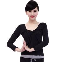 新款女士休闲服 瑜伽服单上衣女长袖可插胸垫 健身瑜珈服运动服