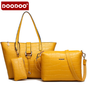 DOODOO 2017新款女式子母包包欧美淑女母子包优雅手提单肩斜跨多用女士包包 D4100 【支持礼品卡】