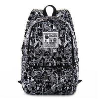 双肩包电脑包旅行包高中学生书包涂鸦学院风时尚印花男韩版潮休闲背包