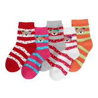 彩桥女童棉袜春秋款儿童袜子女童袜子中大童袜子纯棉袜5双