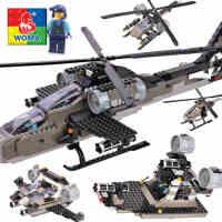 沃马儿童玩具军事积木益智塑料拼插拼装积木男孩5合一阿帕奇