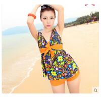 时尚性感女士 韩国小胸保守 显瘦遮小肚平角分体女士泳衣 温泉游泳衣