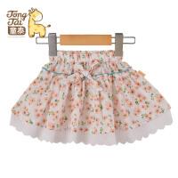 童泰新款夏装女宝宝花朵短裙 女童纯棉碎花公主裙