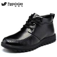 新款富贵鸟英伦真皮皮鞋男士皮靴男雪地靴保暖棉鞋加绒毛男鞋D405384R