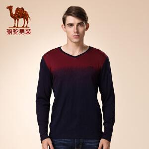 骆驼男装 新品秋款青年撞色V领打底衫 时尚休闲长袖T恤男士