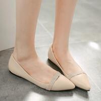 女鞋韩版女单鞋时尚小尖头浅口鞋平底水钻甜美低帮鞋百搭女单鞋