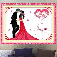 悟客/wuke精准印花十字绣幸福约定钟表 结婚用的小幅简单套件新款客厅画卧室婚房挂钟时钟人物系列