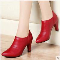 古奇天伦 新款高跟尖头细跟女鞋韩版单鞋时尚皮鞋 婚鞋8144