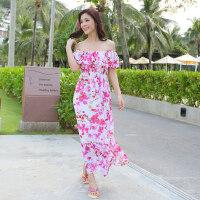 波西米亚连衣裙长裙雪纺沙滩裙大码显瘦海边度假裙子