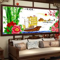 悟客/wuke精准印花十字绣一帆风顺如意船版1.5米新款客厅书房山水画大幅风景牡丹花简约现代中国风系列