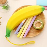 三曼多  开学季热销 学生笔袋 硅胶香蕉笔袋 糖果色果冻散钱袋 零钱包