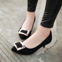 高跟鞋浅口鞋欧美时尚细跟尖头鞋百搭方扣单鞋女鞋子