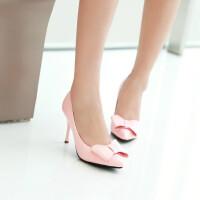 【支持礼品卡支付】女鞋韩版高跟鞋甜美蝴蝶结尖头公主鞋性感细跟浅口女鞋子